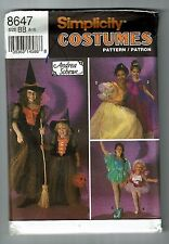 Simplicity #8647 Andrea Schewe Witch-Princess-Fairy Costume Pattern Sz 8-12 UC