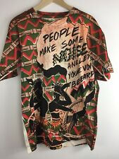 Vtg 90s African Tribal Make Some Noise Let Your Voice Be Heard Allover Print XL
