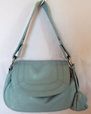Donna Bella Lt Blue Leather Crossbody Shoulder Bag Purse Handbag Extra Handle