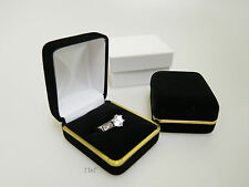 LUXURY BLACK VELVET RING BOX JEWELLERY PRESENTATION GIFT CASE - Metal Trim