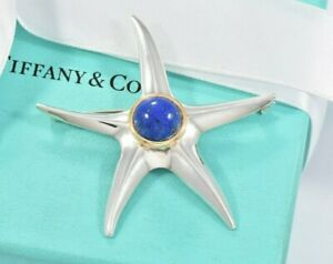 Tiffany & Co Lapis Lazuli 18K Gold Sterling Silver Vintage Starfish Brooch Rare