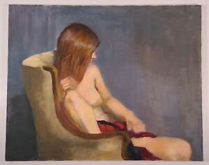 NUDE PORTRAIT VINTAGE PAINTING RETRO 1970s NAKED WOMAN IN CHAIR SIGNED 24x30