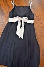 BCBG Maxazria Women's black beaded strap silk chiffon empire waist dress size 4
