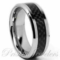 🔥 Tungsten Carbide Black Carbon Fiber Ring Silver Mens Engagement Wedding Band