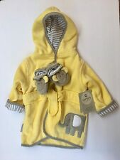 Carter's Robe and Booties Set 2-Piece Yellow Grey Elephant Appliqué Baby Boy