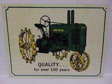 Vintage 1990s JOHN DEERE TRACTORS FARM ANTIQUE TRACTOR METAL ADVERTISING SIGN