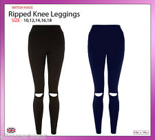 New Ladies Women Ripped Cut Out Knee Heavy Jersey Leggings Size 10-22