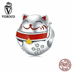 China Troditional Fortune Cat Charm Lucky BeadsDIY Bracelet Pendant S925 Silver