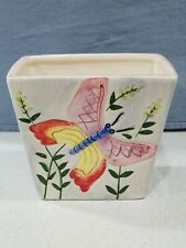 """Vintage Hand-painted Planter Vase Embossed Butterfly Flowers Rectangle 4"""" Tall"""
