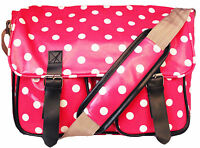 Ladies Polka Dot Oilcloth Messenger Cross Body School Satchel Changing Bag UK