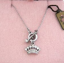 AUTH Juicy Couture Pave Crown Silver Tone Necklace $48