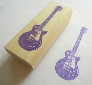 Musical Instrument Rubber Stamp - Les Paul Electric Guitar
