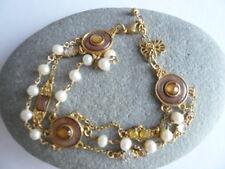 Antique Gold Effect Vintage Look Pearl Jewelled Bracelet Steampunk Boho Retro