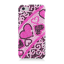 For Apple iPhone 5C Crystal BLING Hard Case Phone Cover Red Black Hearts