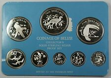 1978 Belize 8 Coin .925 Silver Proof Set NO CASE NO COA IMPERFECTIONS on Sleeve