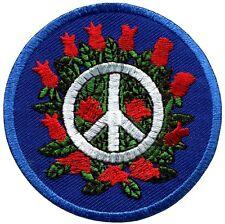 Peace sign hippie boho retro flower power distressed applique iron-on patch G-49