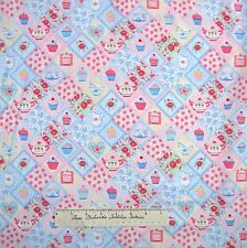 Tea Party Fabric - Cupcake Pastel Pink Blue Patch - Makower UK Cotton YARDS