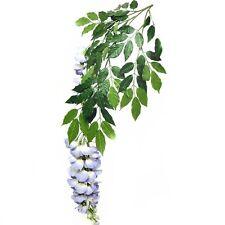 66cm RAMO FOGLIE ARTIFICIALI glicine con fiori blu-pianta decorativa