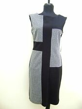 MAGGY LONDON HOUNDSTOOTH SLEEVELESS STRETCH DRESS COLOR BLOCK BLACK WHITE size 8