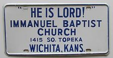 "1970's ""HE IS LORD!"" IMMANUEL BAPTIST CHURCH WICHITA KS BOOSTER License Plate"