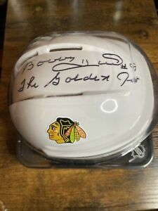 Bobby Hull Autograph Chicago Blackhawks The Golden Jet Auto Mini Helmet