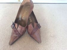 Spanish Shoes Size 4 Croc Tan Leather Two Tone Pointed Heels Side Strap Good