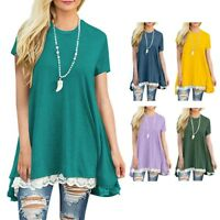 Fashion Women's Long Solid Tops Short Sleeve Lace Scoop Neck A-Line Tunic Blouse