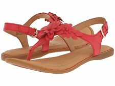 NEW Born D Anna Floral T-Strap Sandal in Red Leather, Women Size 6