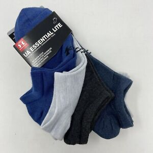 Under Armour No Show Socks 6 Pairs Mens Size 8-12 Blue Grey Training New