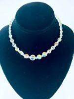 Vintage Clear Glass Crystal Aurora Borealis Bead Necklace Single Strand Choker