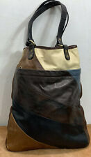 Jas MB London Leather Blue Brown Tote Shopping Bag Purse Handbag Made In England