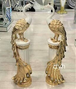 Italian White Gold Two Peacock Pair Stand Romany Diamante Gift Ornament Luxury