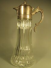 Vintage Sculpted Glass Pitcher/Decanter with Silver-Plated Spout & & Ice Insert