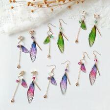 New Butterfly Wings Drop Dreamy Gradient Color Asymmetric Long Earrings Jewelry