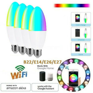 E26 E14 E27LED Smart Candle Light Bulb WiFi App Control Amazon Alexa Google Home