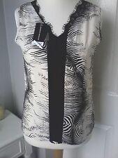 DOROTHY PERKINS top UK 12 sleeveless animal print black cream taupe lace New