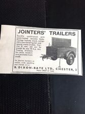 N1-2 Ephemera 1956 Advert Jointers Trailers B Dixon Bate Ltd Chester