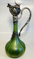 "Antique 19th Century Loetz Austrian Art Nouveau 800 Silver Green Glass Jug 13.5"""