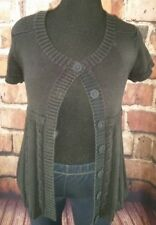 Black cardigan sweater size XL short sleeve button front ribbed knit casual