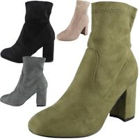 Womens Ladies Faux Suede Zip High Heel Work Plain Ankle Office Boots Shoes Size