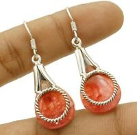 Natural Rhodochrosite 925 Solid Sterling Silver Earrings Jewelry ED13-7