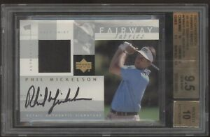 2002 UD Fairway Fabrics Phil Mickelson Silver Sigs Jersey RC Auto BGS 9.5 10 1/7