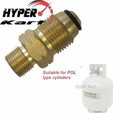 """ADAPTOR STRAIGHT FITTING CONVERT POL/QCC LPG CYLINDER BOTTLE TO 3/8"""" BSP L/H"""