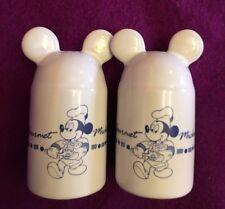Salt Pepper Shaker Disney Gourmet Mickey Mouse With Ears White Ceramic Vintage 3