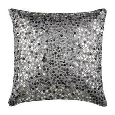 Throw Pillow Grey Luxury 20x20 inch Silk, Dotted Texture Sequin - Silver Shine