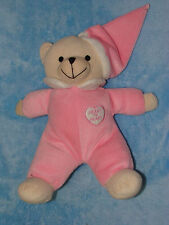 Heart to Heart PLush Teddy Bear Stuffed Animal Pink Hat Sleeper Soft Toy 12""