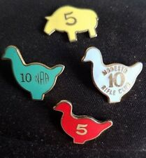 NRA RARE TARGET SHOOTING ANIMAL SILHOUETTE 5 IN A ROW PIG,CHICKEN LAPEL/HAT PINS