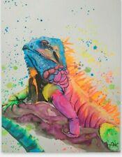 Iguana Painting Animals Wall Art Reptile Painting Watercolor Original Art