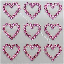 20 x 13mm Hearts PINK Rhinestone Diamante Stick on Self Adhesive GEMS Wedding