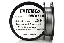 TEMCo Flat Ribbon Kanthal A1 Wire 0.4mm x 0.1mm 25 Ft Resistance A-1